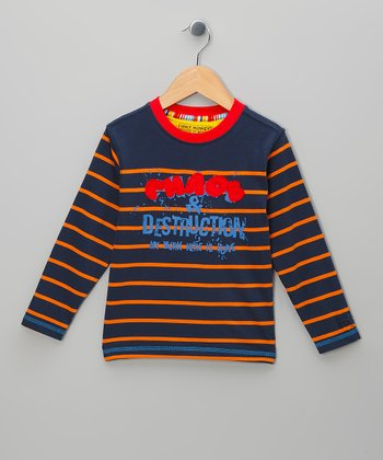 Navy Stripe 'Chaos & Destruction' Tee - Toddler & Boys