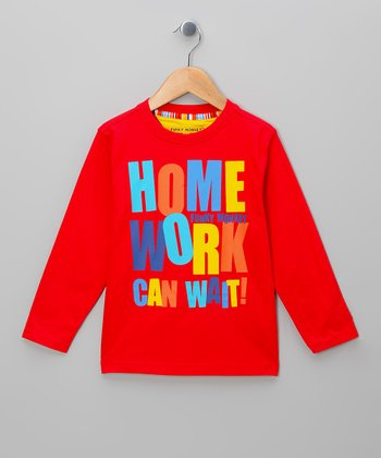 Red 'Homework Can Wait' Tee - Toddler & Boys
