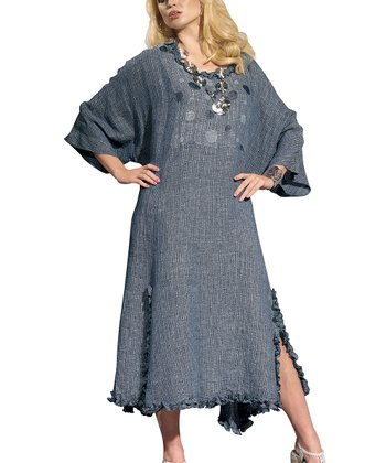 Blue Ruffle Edge Linen-Blend Cape-Sleeve Dress - Women & Plus