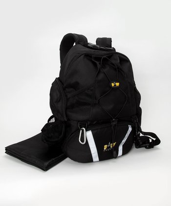 Black Four-in-One Diaper Backpack