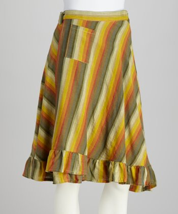Olive Stripe Ruffle Pocket Skirt - Women