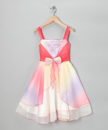 Pink Rhinestone Bow Dress - Girls