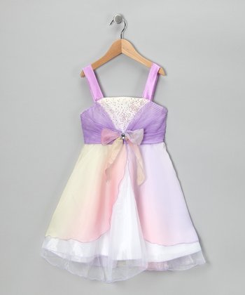 Purple Rhinestone Bow Dress - Girls