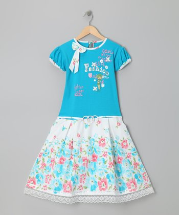 Blue Floral 'Fashion' Dress - Girls