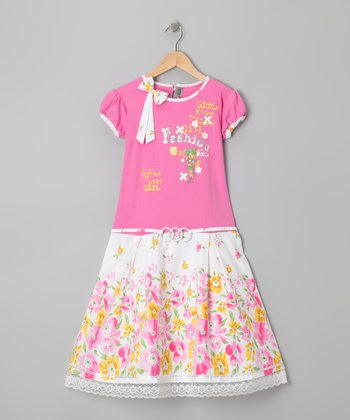 Pink Floral 'Fashion' Dress - Girls