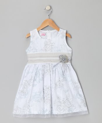 White & Gray Floral Dress - Toddler & Girls