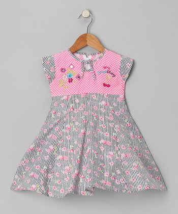 Pink Cherry Stripe Dress - Girls