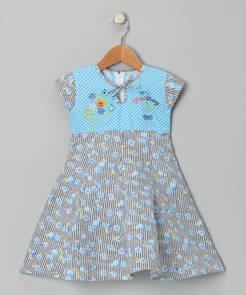 Blue Cherry Stripe Dress - Girls