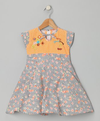 Orange Cherry Stripe Dress - Girls