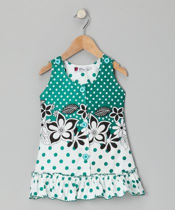 Green Polka Dot Ruffle Jumper - Toddler & Girls