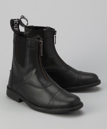 Black Zip Leather Paddock Boot - Kids