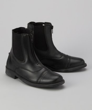 Black Zip Paddock Boot - Kids