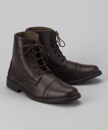 Brown Stitched Lace-Up Paddock Boot - Kids