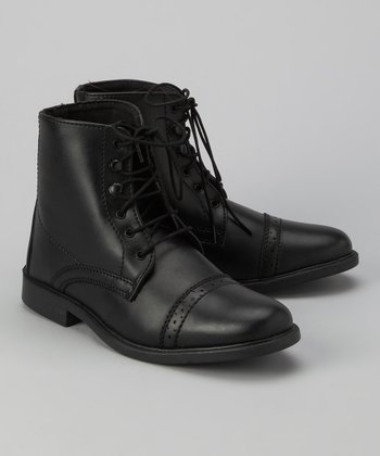 Black Stitched Lace-Up Paddock Boot - Kids