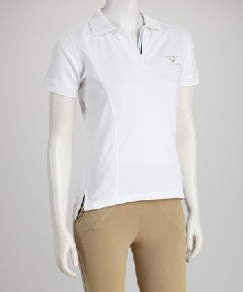 White Short Sleeve Polo - Women & Plus