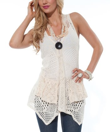 Cream Crocheted Handkerchief-Hem Vest