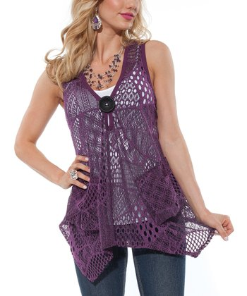 Purple Crocheted Handkerchief-Hem Vest