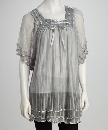 Gray Ruffles & Ribbon Sheer Tunic