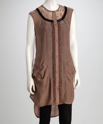 Tan Button-Down Tunic