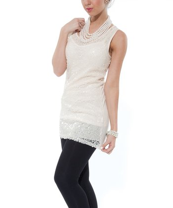 Cream Embellished Sleeveless Tunic