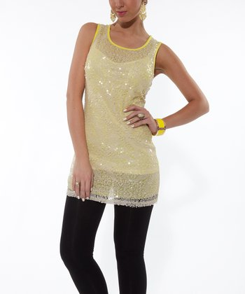 Yellow Green Embellished Sleeveless Tunic - Women & Plus