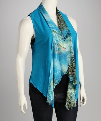 Turquoise Jungle Chiffon Plus-Size Vest