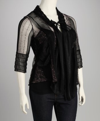 Black Mesh Plus-Size Cardigan