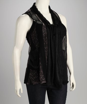 Black Mesh Plus-Size Vest