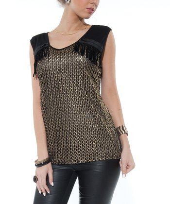 Black Crocheted Zipper Top