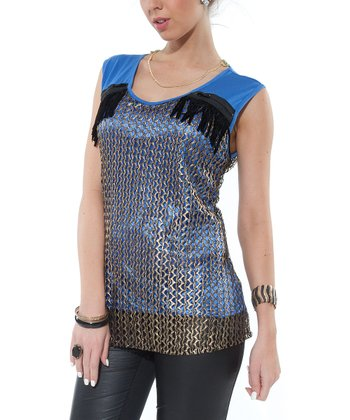 Blue Crocheted Zipper Top - Women