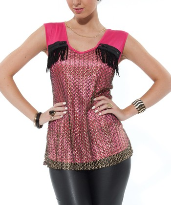 Pink Crocheted Zipper Top - Women