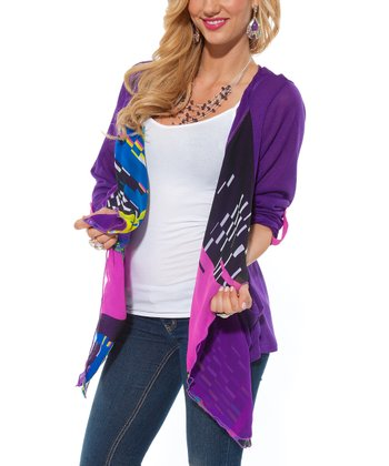 Purple Sheer Geometric Open Cardigan - Women & Plus