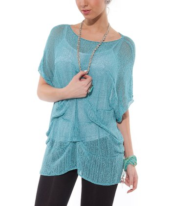 Blue Mesh Dolman Top