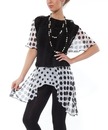 Black Polka Dot Layered Tunic