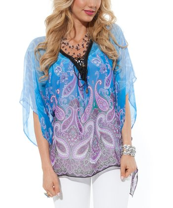 Blue Paisley Sheer V-Neck Top