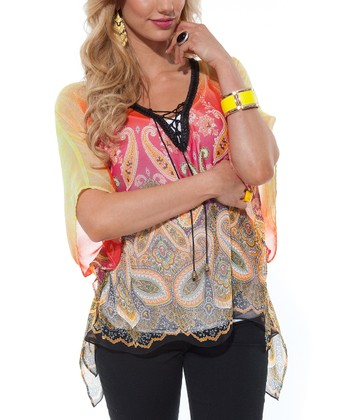 Yellow Paisley V-Neck Top