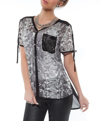 Silver Embellished Tunic - Women