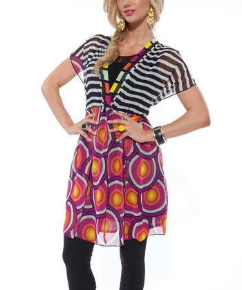 Orange & Purple Circles Dolman Dress - Women