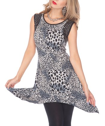 Blue Leopard Sidetail Tunic