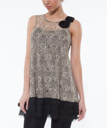 Champagne Lace Ruffle Sleeveless Top