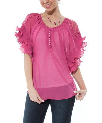 Pink Sheer Ruffle Cape-Sleeve Top