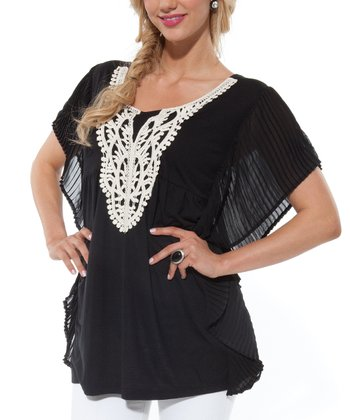 Black Lace Cape-Sleeve Tunic