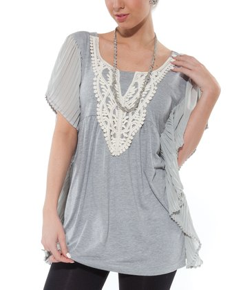 Gray Lace Cape-Sleeve Tunic