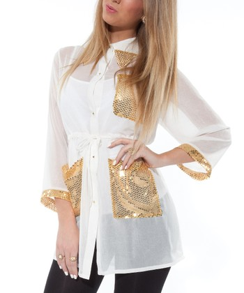 Cream & Gold Sequin Button-Up Tunic