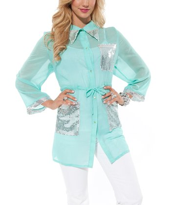 Mint Sequin Button-Up Tunic - Women