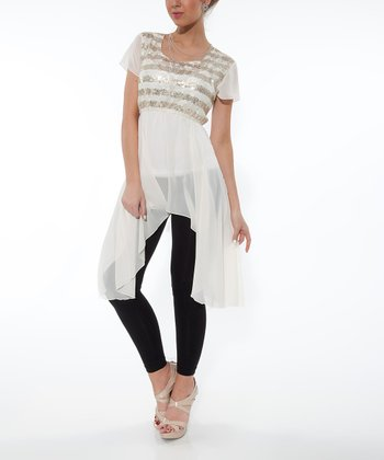 White Shimmer Sidetail Tunic
