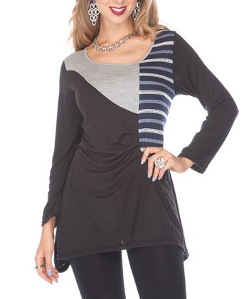Black Stripe Tunic - Women