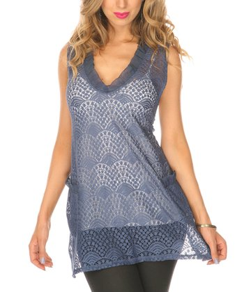 Blue Crocheted Sleeveless Top