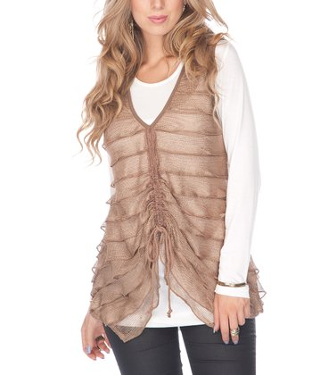 Mocha Tiered Sheer Sleeveless Top