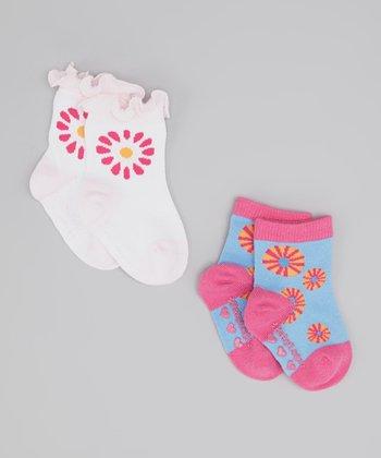 White & Blue Peace Socks Set